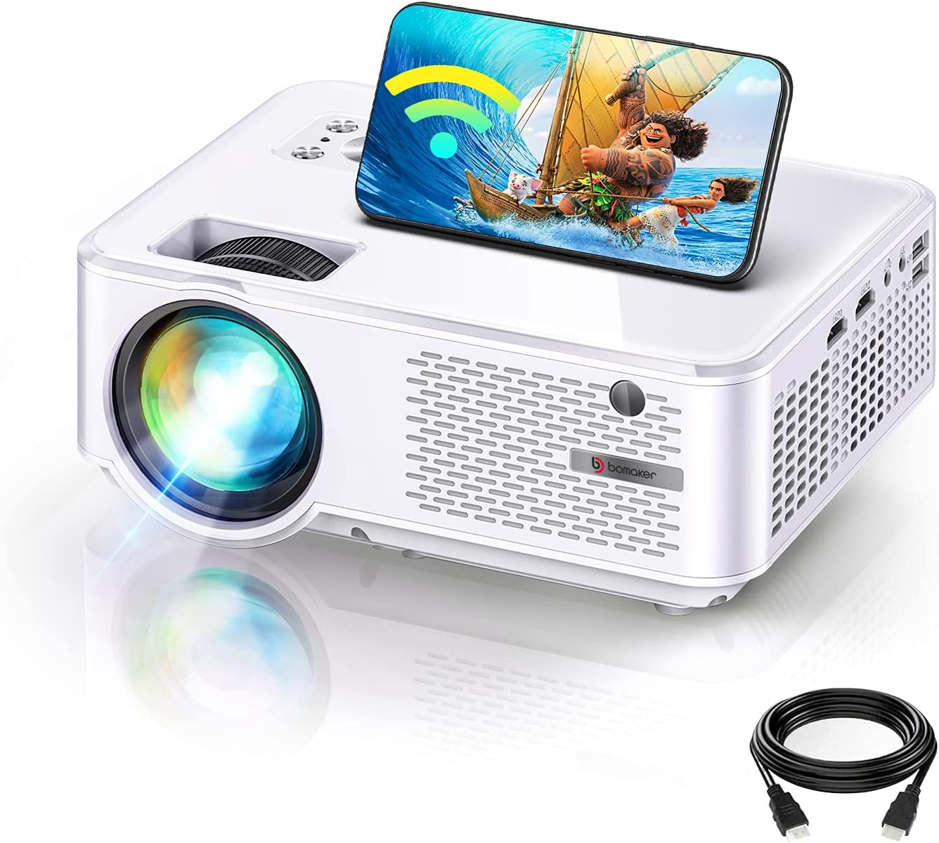 BOMAKER 1280x800P HD Outdoor WiFi Mini Projector $129.12 Coupon