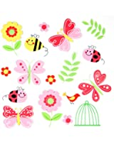 17 Premium 3D Wall Decals - Butterflies and Flowers - Eco-Friendly - Reusable - Long Lasting - Easy Stick - Colorful - Foam Stickers - Kids Room Decals - Educational Stickers - Nursery Baby Decor