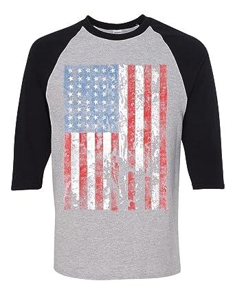 a00df899686 Distressed American Flag Three-Quarter Raglan Sleeve T-Shirt Grey Black  Small. Roll over image to zoom in. Custom Apparel R Us