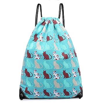 8003ba70d39f Kono Drawstring Backpack Canvas Non-Waterproof School Swim Gym PE Rucksack  Outdoor Sports Butterfly Flower