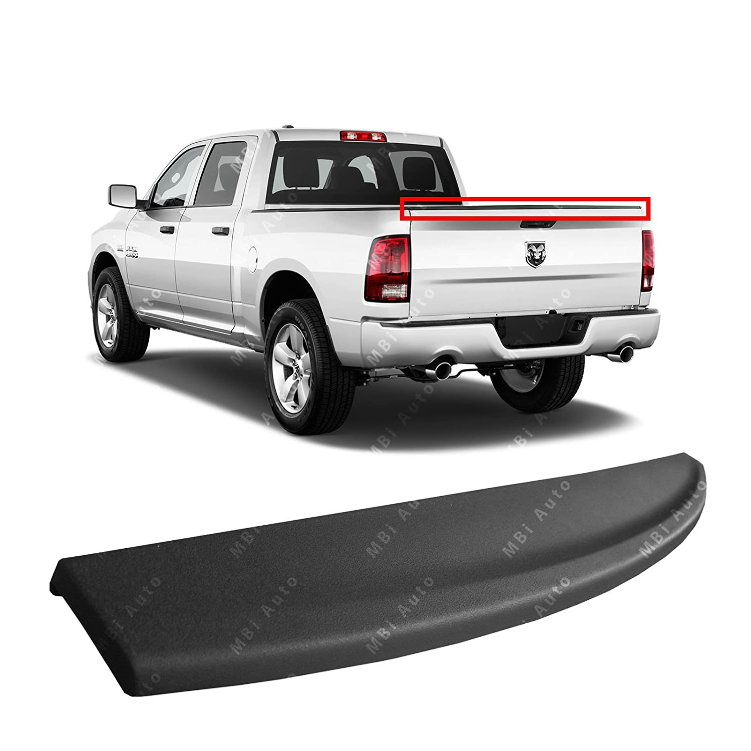 MBI AUTO Textured, Tailgate Top Protector Molding for 2009-2017 RAM 1500 & 2010-2017 RAM 1500, 2500, 3500 09-17, CH1909100