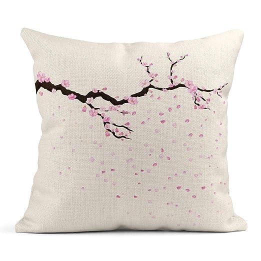 Kinhevao Cojín Rosa Japón Rama de Flores de Sakura Pétalos ...