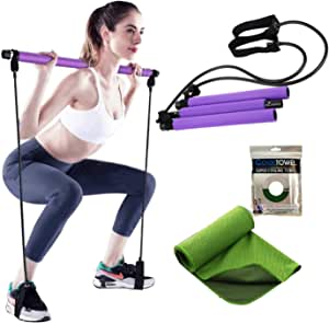 Exercise Resistance Band Yoga Pilates Bar Kit Portable Pilates Stick Muscle Toning Bar Home Gym Pilates with Foot Loop for Total Body Workout Bundle with Cooling Towel(Purple)