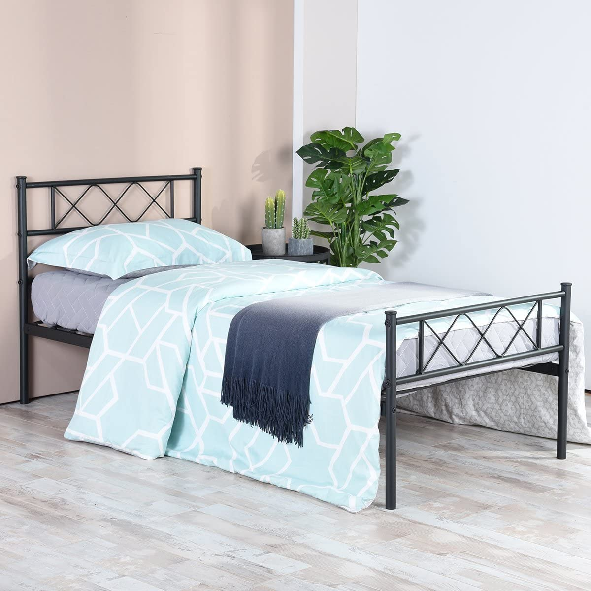 SimLife Metal Platform Bed Frame with Two Headboards Mattress Foundation Slat Support No Box Spring Needed, Twin