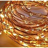 LED-Lichtshop® - Serie di luci LED, 50 lucine, per interni o esterni, funzionamento a batteria, con interruttore e 4htimer, 1 pezzo, Bianco caldo, 1 pezzo