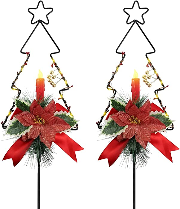 MorTime 2 Pack Christmas Garden Stakes Decor, Metal Christmas Tree Yard Stake with LED Lights for Home Outdoor Yard Lawn Pathway Walkway Driveway Christmas Holiday Winter Decoration
