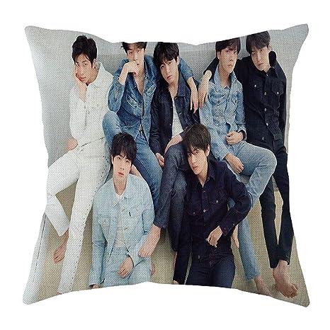 Cojín cuadrado de almohada para niños de Skisneostype Kpop BTS Bangtan, diseño por las dos caras