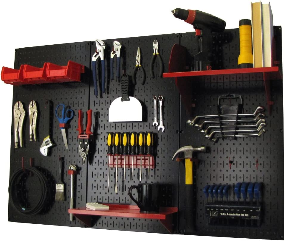 Wall Control Pegboard Organizer 4 ft. Metal Pegboard Standard Tool Storage Kit with Black Toolboard and Red Accessories
