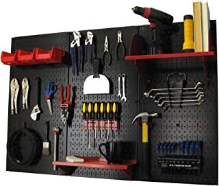 product image for Pegboard Organizer Wall Control 4 ft. Metal Pegboard Standard Tool Storage Kit with Black Toolboard and Red Accessories