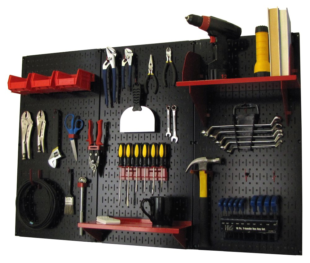 Wall Control Pegboard Organizer 4 ft. Metal Pegboard Standard Tool Storage Kit with Black Toolboard and Red Accessories by Wall Control