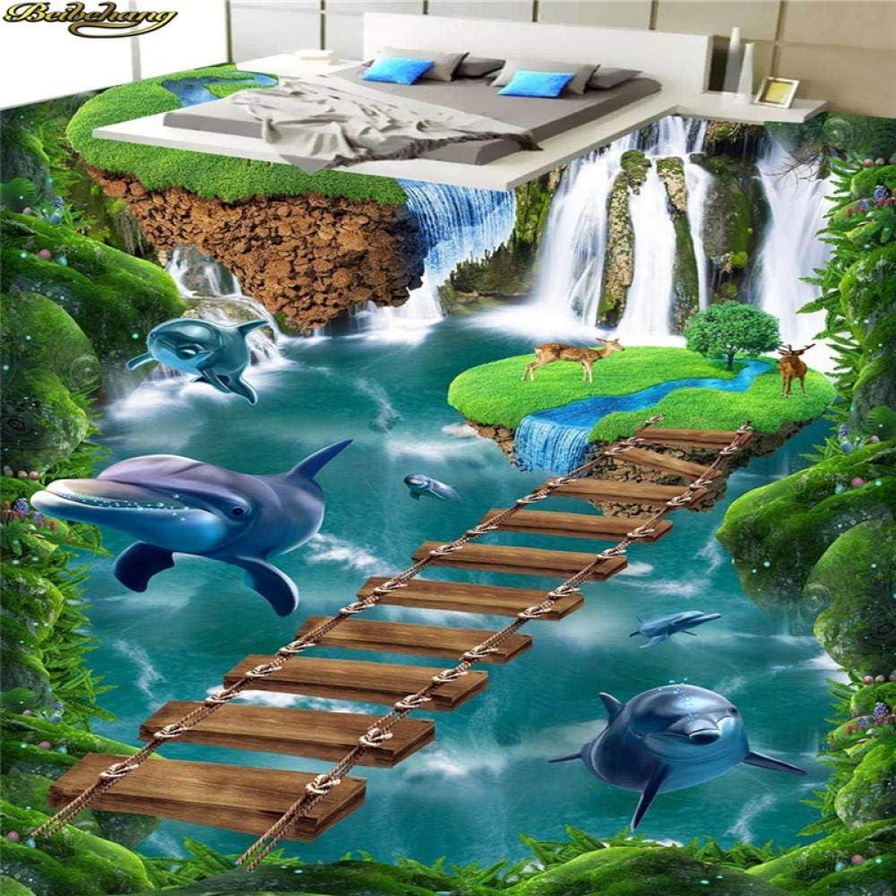 Papel tapiz de foto personalizado Pintura de piso Carpeta Cascada Pequeño puente Baño Pasarela Acantilado Isla suspendida 3D Floor-400Cmx280Cm