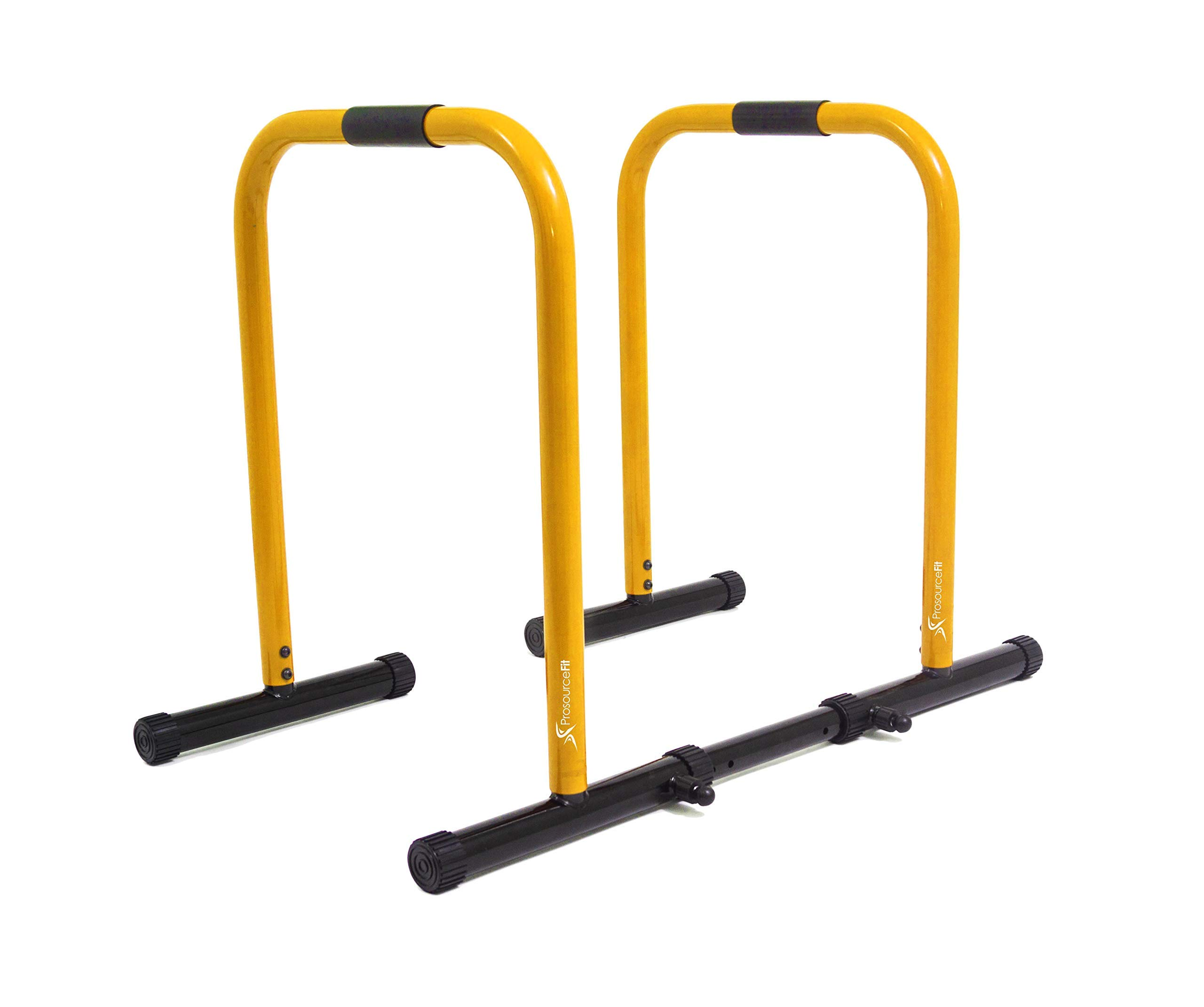 ProsourceFit Dip Stand Station, Heavy Duty Ultimate Body Press Bar with Safety Connector for Tricep Dips, Pull-Ups, Push-Ups, L-Sits, Yellow (Renewed)