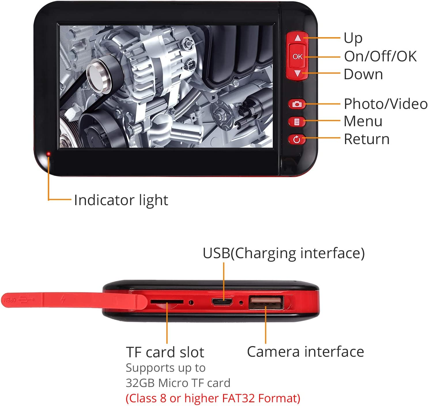 Neoteck Endoscopio Industrial IP68 Impermeable Inspecci/ón Impermeable con Pantalla de Monitor LCD C/ámara de 8 mm de Di/ámetro con 8 Luces LED /Ángulo de Lente de 70/°y Cable Flexible de 5 m
