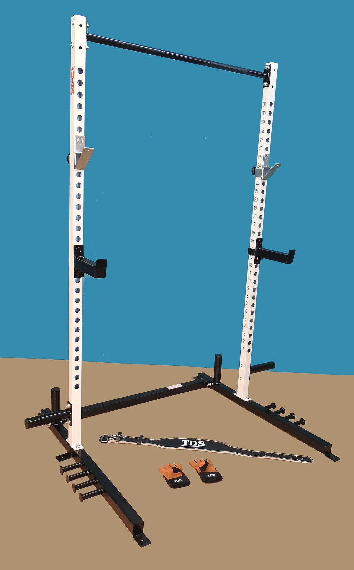 Super Open Rack Gym with 5 band holders each side, Mega Safety Hooks and Professionally Knurled 1.25'' Dia Chinning Bar, 1000 lb Capacity with a free gift package by TDS