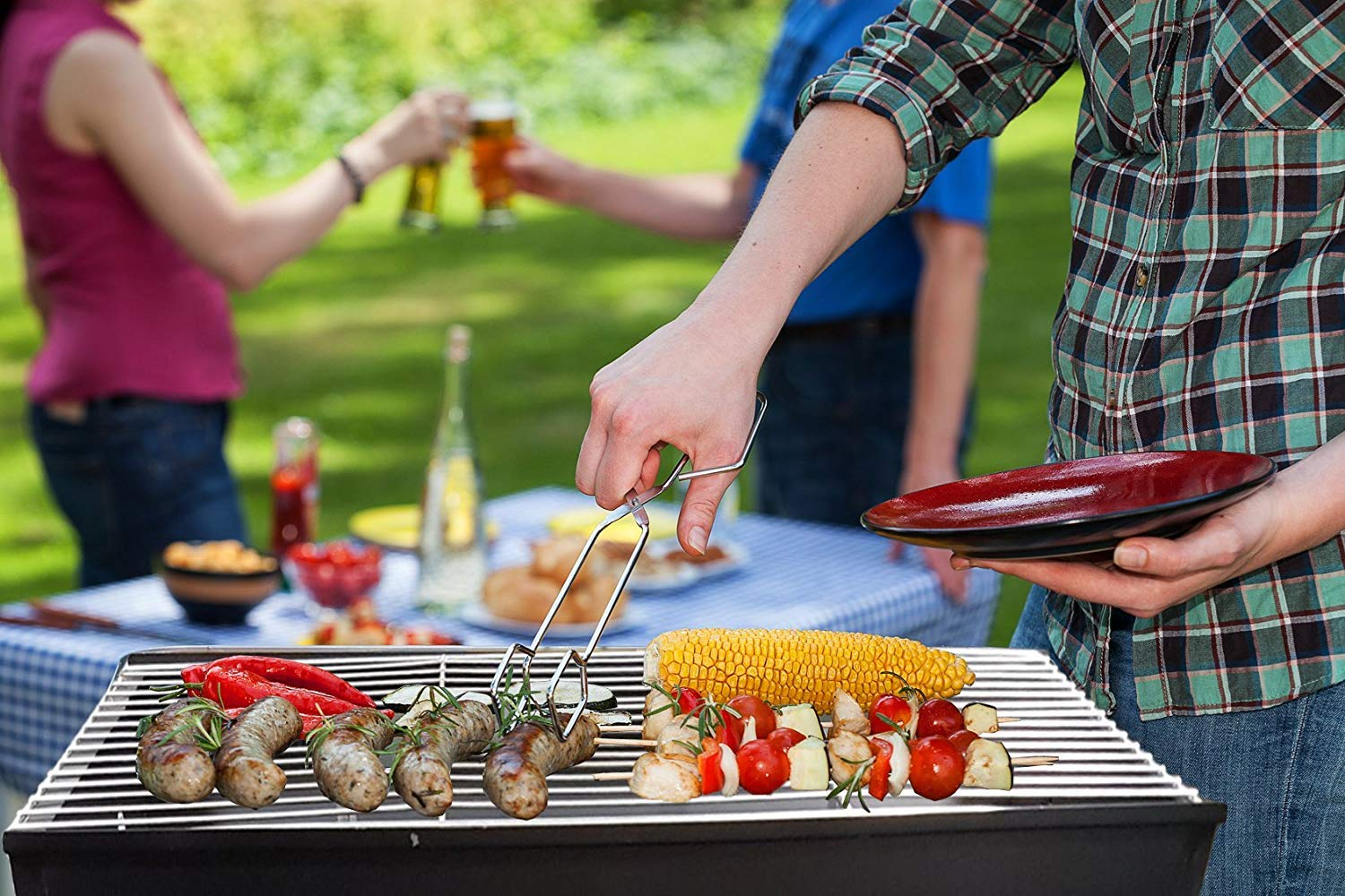 FunkyBuys® Black Half Barrel BBQ Drum Charcoal Grill Champing Barbecue Outdoor Cooking Patio Garden Picnic-(SI-HH1052)
