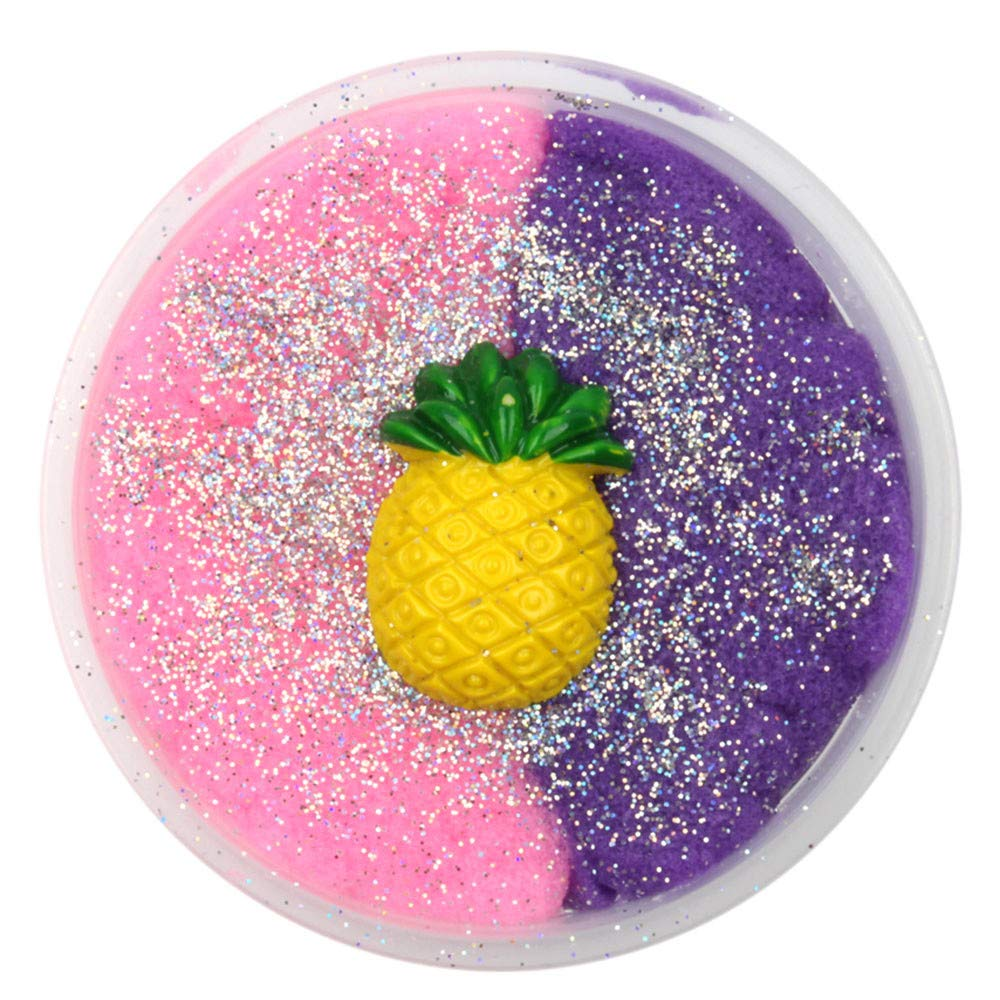 Kanzd Colorful Pineapple Mixing Cloud Cotton Candy Slime Scented Stress Kids Clay Toy (B)