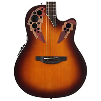 Ovation CE48 - 1 Celebrity Elite Super Shallow Sunburst guitarra acústica/guitarra eléctrica (con funda y soporte: Amazon.es: Instrumentos musicales