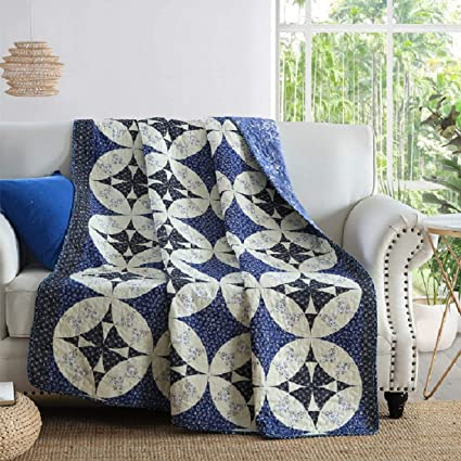 Incredible Qucover Cotton Quilted Throws Single Bedspread Vintage Chinese Style White Blue Printed Patchwork Blanket For Chair Sofa 55X71 Inches Indian Bed Uwap Interior Chair Design Uwaporg