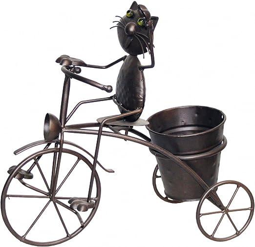 Figura de gato en bicicleta con maceta Macetero metal color bronce ...