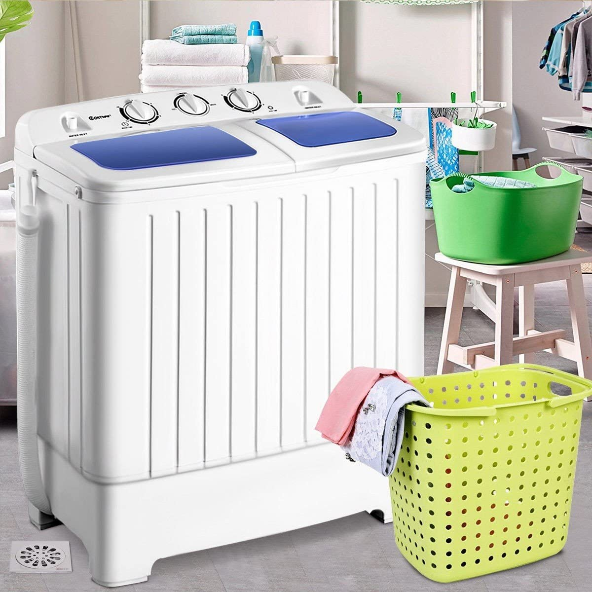 11 lbs Compact Twin Tub Washing Machine Washer Spinner Good Solution for Doing Laundry in Small Apartments, Dorms, Condos, etc