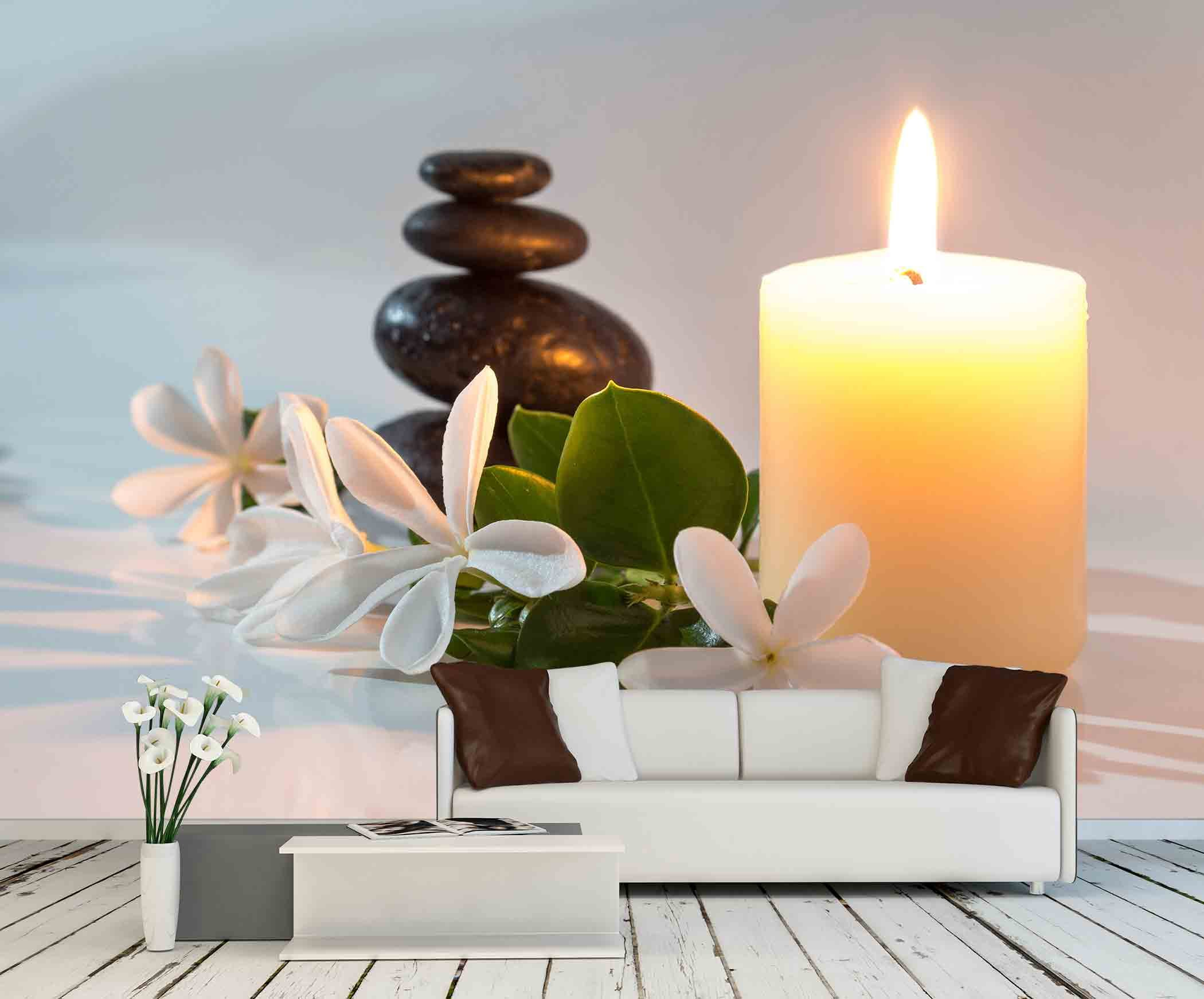 wall26 - Tiare Flowers, Candle and Black Stone Spa - Removable Wall Mural | Self-adhesive Large Wallpaper - 66x96 inches