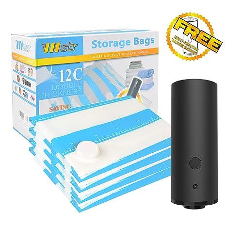 VMSTR Bolsas de almacenamiento al vacío con bomba eléctrica, VMSTR 4 bolsas que ahorran espacio para el viaje en casa Vacío recargable para ropa