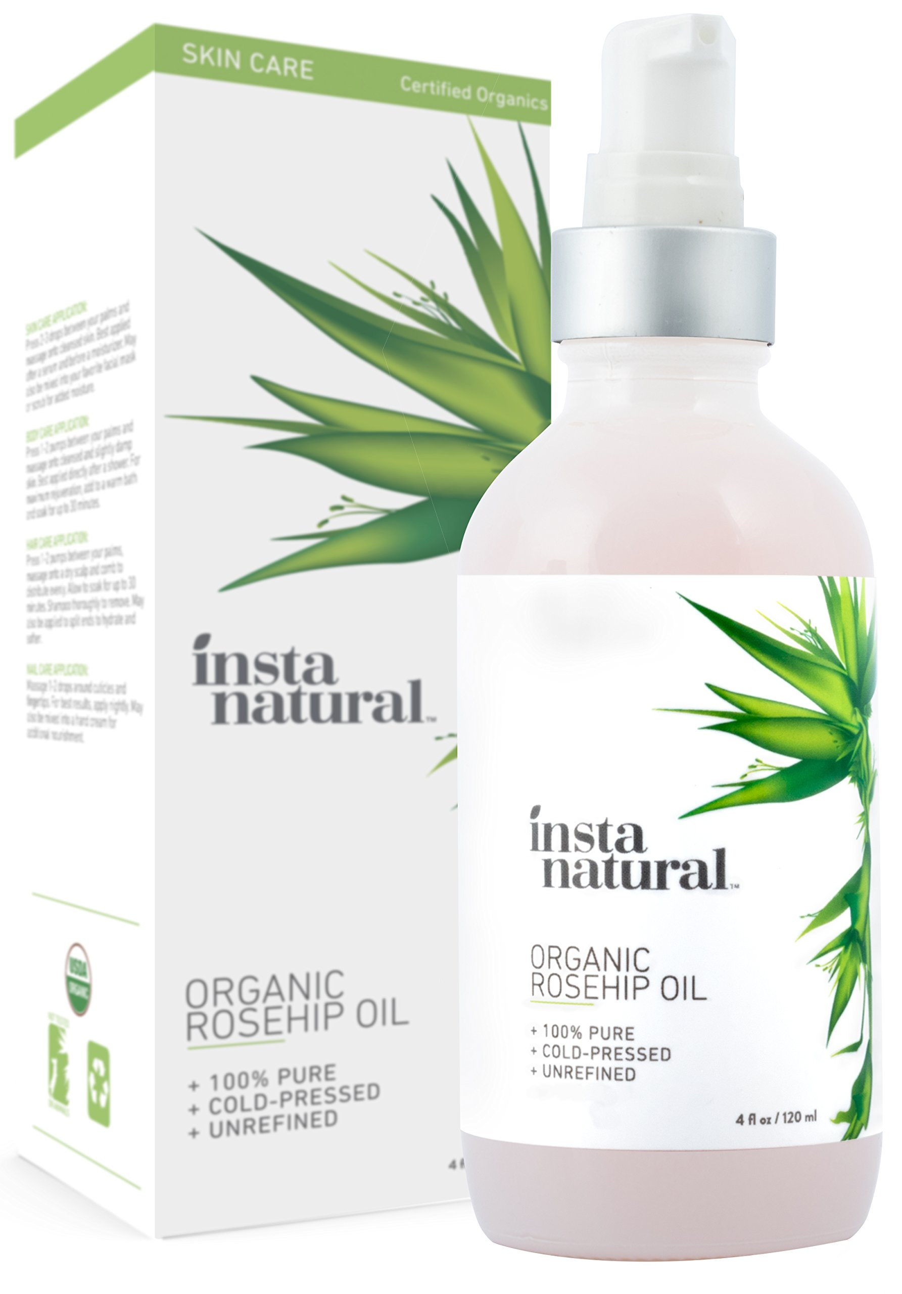 Organic Rosehip Seed Oil - 100% Pure, Unrefined Virgin Oil - Natural Moisturizer for Face, Skin, Hair, Stretch Marks, Scars, Wrinkles, Fine Lines & Nails - Omega 6, Vitamin A and C - 4 oz by InstaNatural