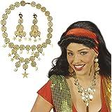 Set de bijoux bohémienne collier et boucles d'oreilles or Ornements dorés orientaux danse du ventre bijoux pirates parure 1001 nuits accessoires carnaval costume femmes gitane