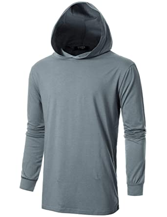 58963c4c GIVON Mens Slim Fit Long Sleeve Lightweight Tri-Blend Echo Cotton Knit  Hoodie with Kanga