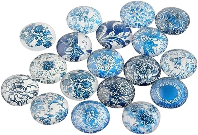 6 CABOCHONS Verre Ronds 25mm verre bleu MOTIFS ARBRES DIY bijoux Déco