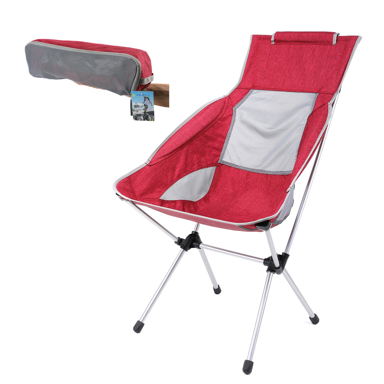 Yahill Ultralight折りたたみ可能なキャンプ椅子折りたたみコンパクトポータブルwith Carrying Bag forインドア家具とアウトドアビーチピクニックハイキング旅行狩猟釣りDirector working B072N826J6  レッド