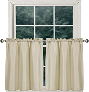 Home Queen Waterproof Bathroom Window Tier Curtains, Rod Pocket Waffle Room Darkening Curtains for Kitchen Window, 2 Panels, 36 W X 36 L Inch Each, Solid Taupe