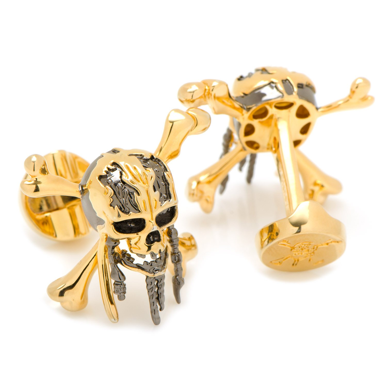 Disney 3D Black and Gold Skull and Crossbones Cufflinks, Officially Licensed