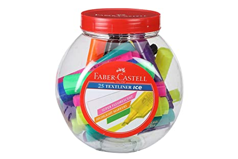 Faber-Castell Ice Textliner Jar - Pack of 25 (Assorted) Highlighters at amazon