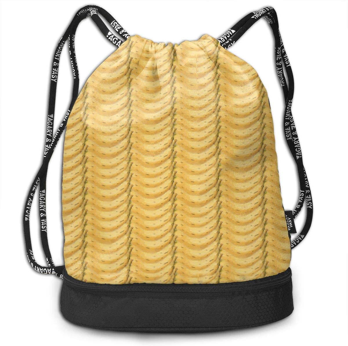 Monkey Business Banana Stripes Drawstring Backpack Sports Athletic Gym Cinch Sack String Storage Bags for Hiking Travel Beach