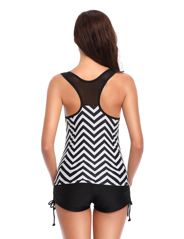 e7f47512d2 LALAVAVA Women's Racerback Print Up Tankini Top Padded Boyshort Two Piece  Swimsuit Sets at Amazon Women's Clothing store: