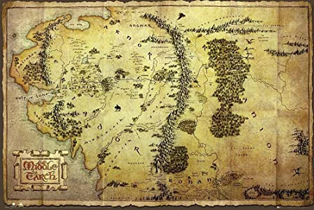 the hobbit poster map of middle earth 140cm x 100cm