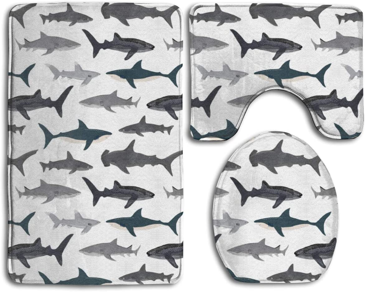"CCBUTBA Bathroom Rug Mats Set 3 Piece Sharks Nautical Boys Extra Soft Bath Rugs (20""x32"") Contour Mat (20""x16"") and Lid Cover (18""x14"")"