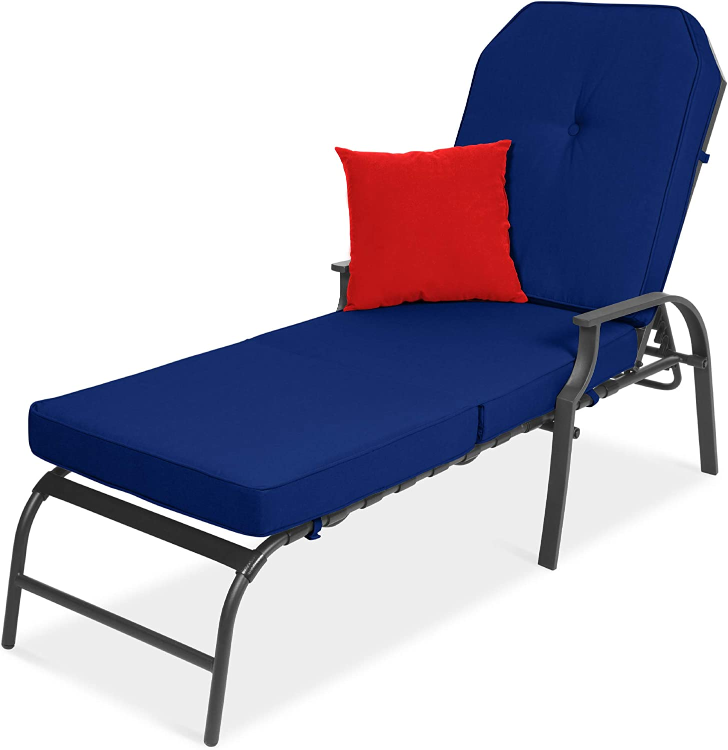 Best Choice Products Adjustable Outdoor Steel Patio Chaise Lounge Chair Furniture for Patio, Poolside w/ 5 Positions, UV-Resistant Cushions - Dark Gray/Navy