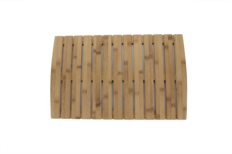 "Mind Reader OBEMAT-BRN Luxury Shower, Anti-Slip, Environment Friendly Bamboo, 22"" L x 14"" W, Light Brown Bath Mat"