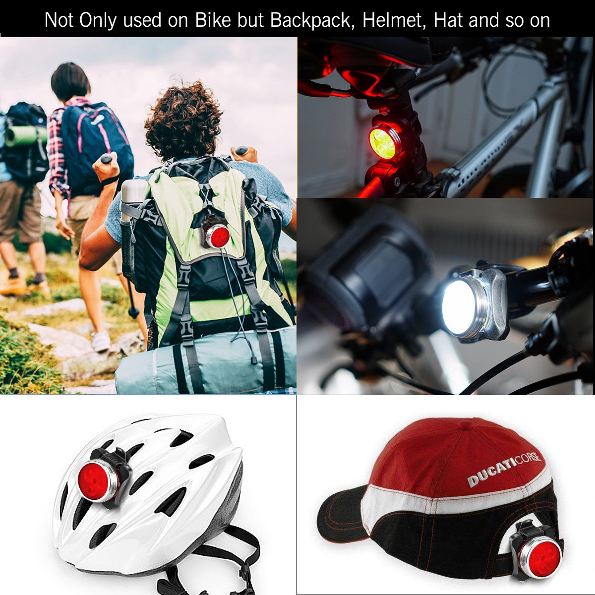 SOKLIT USB Rechargeable Bike Light Front and Rear Waterproof IPX4 Super Bright Bicycle LED Light Set 120 Lumen with 650mah Lithium Battery, 4 Light Mode Options, Including 6 Strap and 2 USB Cables by SOKLIT (Image #6)