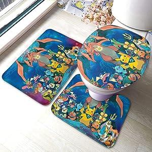 Poke-mon Ee-v-ee Bath Mat 3 Piece Set Bathroom Carpet Set Soft Anti-Skid Pads Bath Mat + Contour Pads + Toilet Lid Cover, Absorbent Carpet Bath and Mat Anti-Slip Pads Set 23.6 x 15.7 INCH