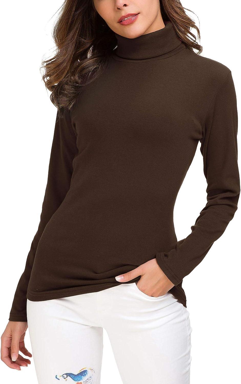 Women/'s Slim Fit Turtleneck Sweater Solid Long Sleeve Sweatshirt