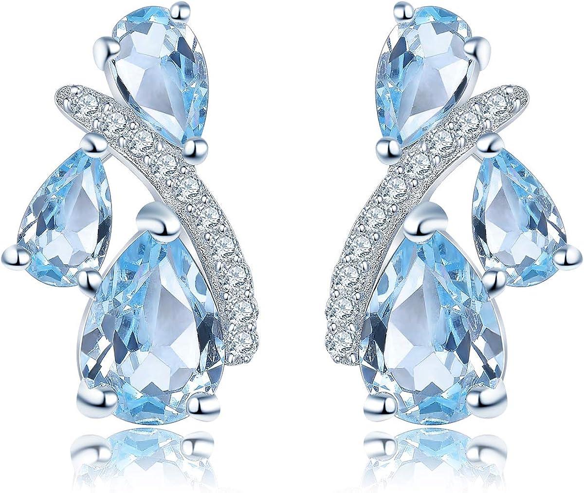 Hutang - Pendientes de plata de ley 925 maciza con topacio azul cielo, piedra preciosa natural, joyería para mujeres y niñas, el mejor regalo