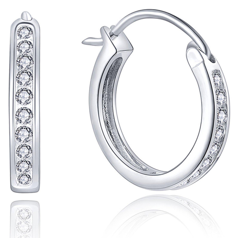 YL Women's Round Hoop Earrings Sterling Silver Simulated Diamond Medium Huggie Earrings YL Jewelry NE10720A2