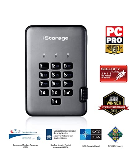 iStorage IS-DAP2-256-4000-C-G - Disco Duro cifrado Portable (4 TB ...