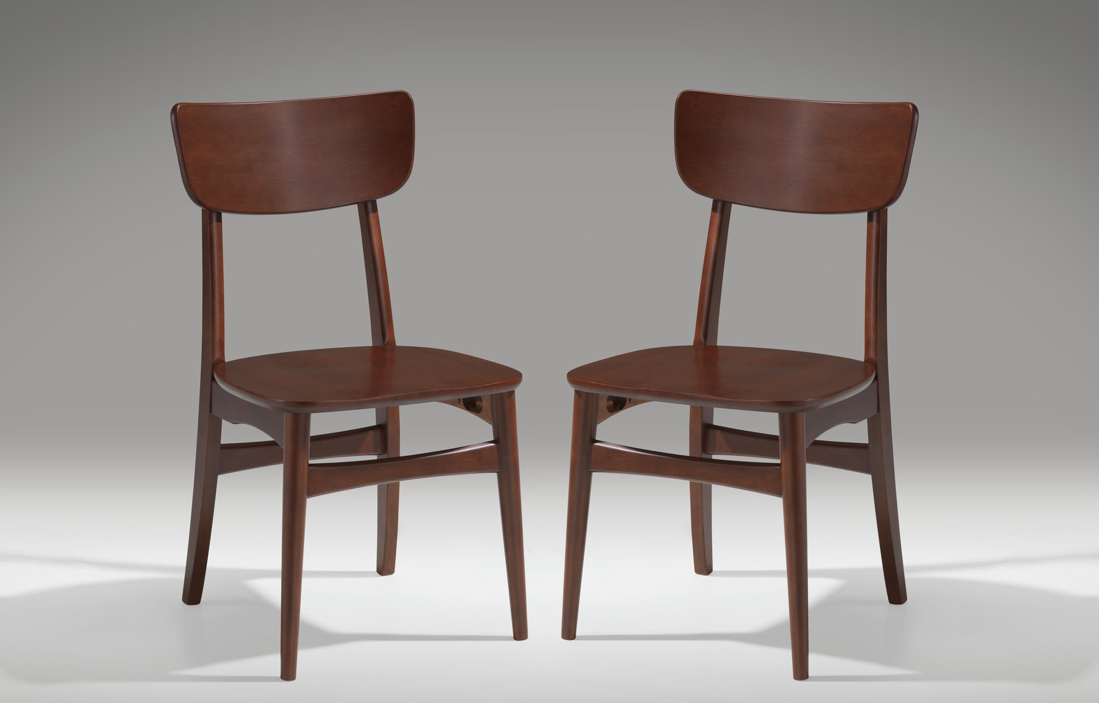 Baxton Studio Set of 2 Netherlands Mid-Century Modern Scandinavian Style Dark Walnut Bentwood Dining Side Chairs - 2-piece mid-century modern dining chair set Materials: Solid rubber wood and MDF with brown wood veneer Rich walnut-veneer finish - kitchen-dining-room-furniture, kitchen-dining-room, kitchen-dining-room-chairs - 711xFMd0gTL -