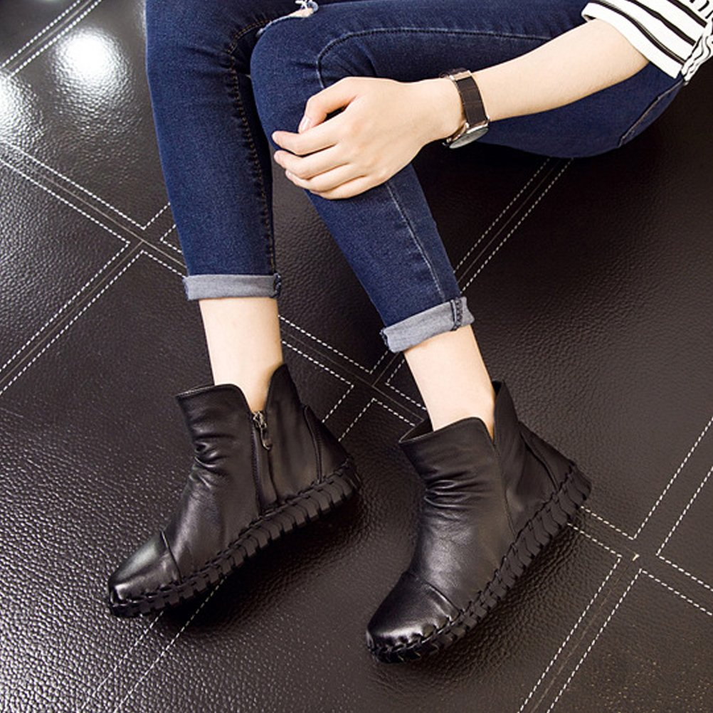 Mordenmiss Women's Flat New Fall Winter Martin Flat Women's Plain Toe Boots B01L3DS4R8 US?7.5//CH?39|Style 2 Black ccca90