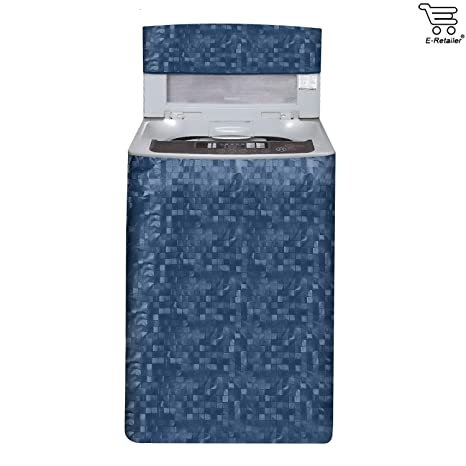 E Retailer Classic Blue Colour With Square Design Top Load Washing Machine Cover Washing Machine Covers