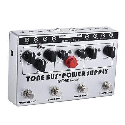 ammoon MOSKY Efecto combinado para guitarra eléctrica 3 efectos (Compresor + Tube Overdrive + Ultimate